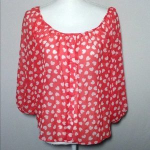 Forever 21 Tops - VALENTINES DAY SHIRT Red & White Hearts Blouse EUC